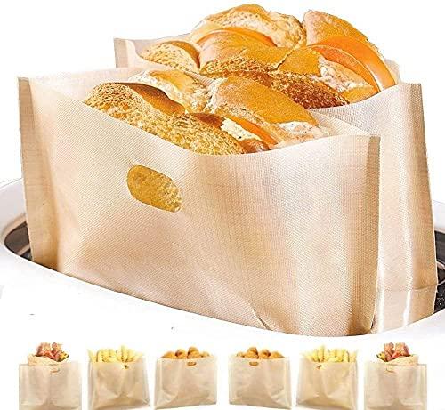DOCA Non-Stick Wiederverwendbare Toastabags LFGB Zertifizierung Sandwich-Bag Waschbar 12 Stück Teflon Toaster Beutel für Toast Pizzastücke Snacks Chicken Nuggets, Anzug für Mikrowelle Grill Toaster