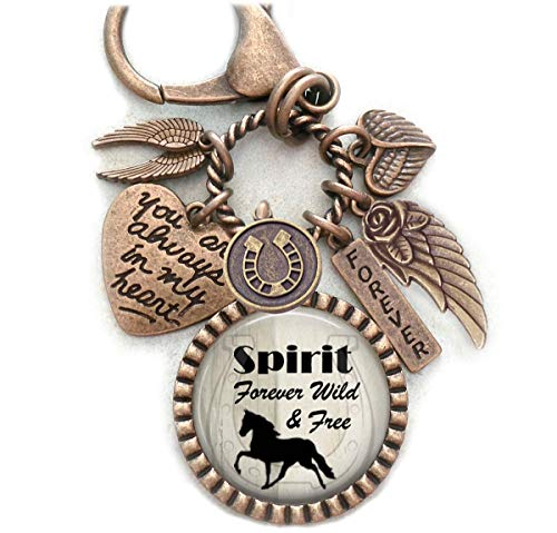 Forever Wild and Free Horse Memorial, Custom Name, Purse Clip, Backpack Clip, Key Chain or Necklace, Unisex Design, Sympathy, Bereavement Gift, Loss of Horse