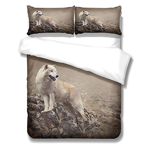 Duvet Cover Set Super King-Zipper Closure with 2 Pillow covers Bedding Set Ultra Soft Hypoallergenic Microfiber Quilt Cover Sets Brown-white animals