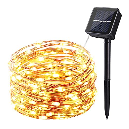 NEXVIN Solar Fairy Lights, (8 Modes) 100 LED Solar Lights Outdoor String, Waterproof Copper Wire Solar Powered Decorative Lights for Garden Patio Trees Party (Warm White)