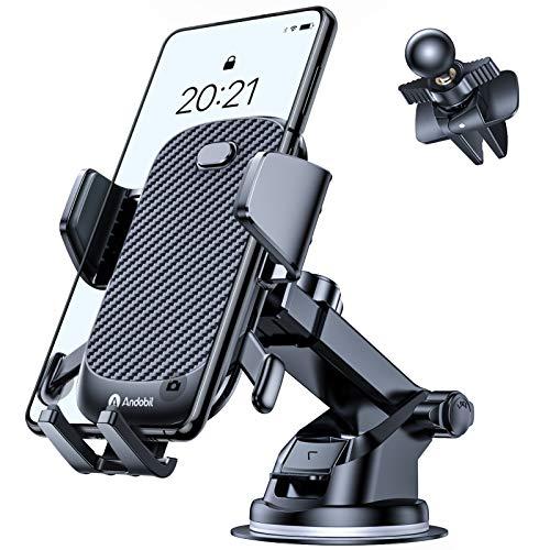 Andobil Handyhalterung Auto [Dickes Gehäuse & große Telefone geeignet] Saugnapf und Lüftungsschlitz Handy Halterung Auto 3 in 1 Handyhalterung kompatibel mit iPhone/Samsung/Huawei/Xiaomi etc.