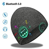 Bluetooth Beanie, Bluetooth 5.0 Wireless Headset Music Winter Beanie Hat, Build-in 2 HD Stereo Speakers & Mic, Fits for Outdoor Sports, Christmas Birthday Gifts for Men Women Dad Mom (Elegant Grey)