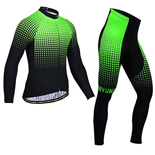 EDK Hiver Hommes Maillot Cyclisme Set Cycliste Vêtements Costumes Veste Pantalons Combo Set Point Green Wave,M