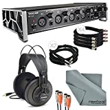 """Tascam US-4x4 4-Channel USB Audio Interface Deluxe Bundle with Dual MIDI Cable + 2 X ¼"""" Cable + 4 X XLR..."""