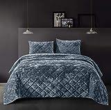 SHALALA NEW YORK Velvet Quilt Set Lightweight Comforter Set for All Seasons - Luxury coverlet, Bed spread with Soft Plush, Cotton Back, Geometric Pattern - Machine Washable (Rainstom Blue, Full/Queen)