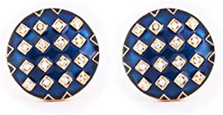 Rosec Jewels - Gemelos con Esmalte de Cuadros Azules, diseño Vintage Americano clásico de Diamantes, Personalizables para Novios de Boda, Hombres