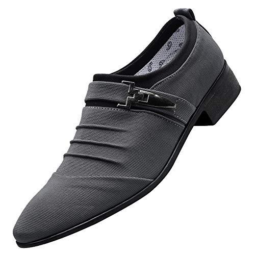 Skxinn Herren Schwarz Business-Schuhe mit Absatz Canvas Elegant Anzug Schuhe Blau Grau für Hochzeit Business Gr 38-47(Grau,47 EU)