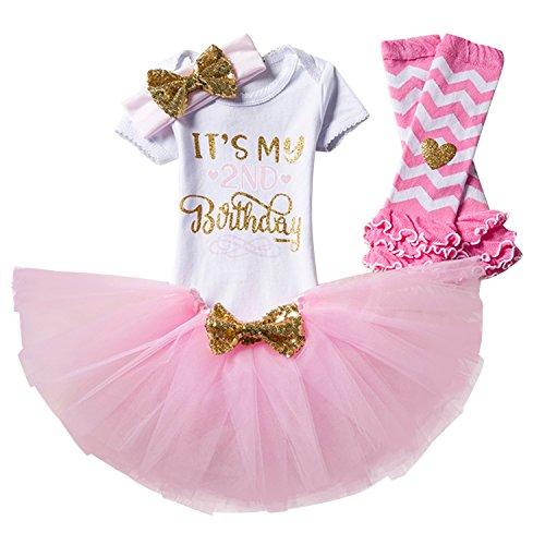 NNJXD Mädchen Neugeborene Es ist Mein 1. Geburtstag 4 Stück Outfits Strampler + Rock + Stirnband (+ Leggings) Größe (2) Rosa (2 Jahre)