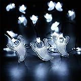 NEXVIN Halloween Deko, 3 Stück 20 LED Halloween Lichterkette Batterie für Außen & Innen Dekoration, Orange Kürbis/Weiß Geister/Lila Fledermaus - 4