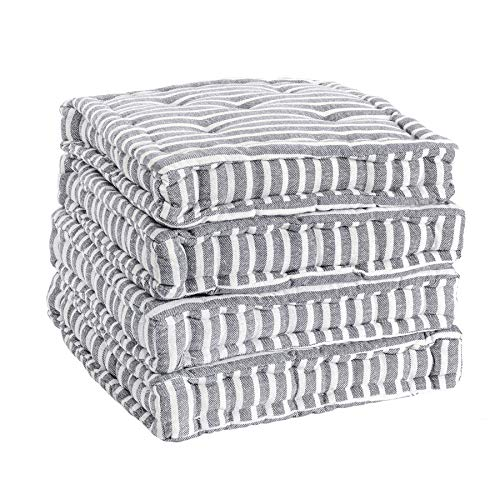 Nicola Spring Dining Chair Cushion Seat Pad Square Padded French Mattress - Grey Stripe - Pack of 4