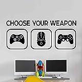 Choose your weapon Elija su juego de armas Mural de vinilo Etiqueta Vivero Niños Jugadores art adolescente vídeo juego mural