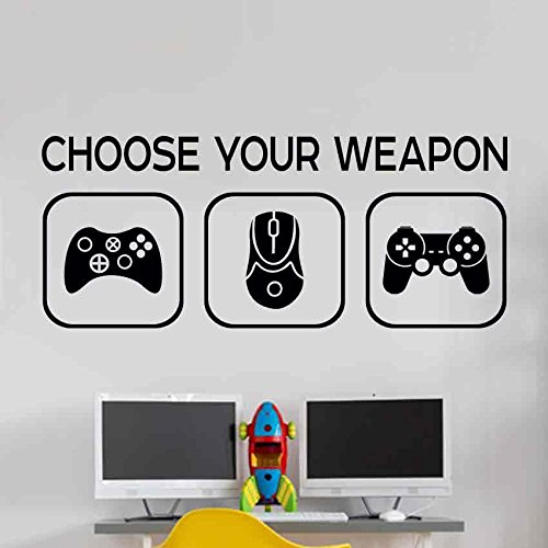 Choose your weapon Kinderzimmer Wandaufkleber Mural Vinyl Decal Kindergarten Kinder Gamer Kunst Teenager Video Spiel Wandbild