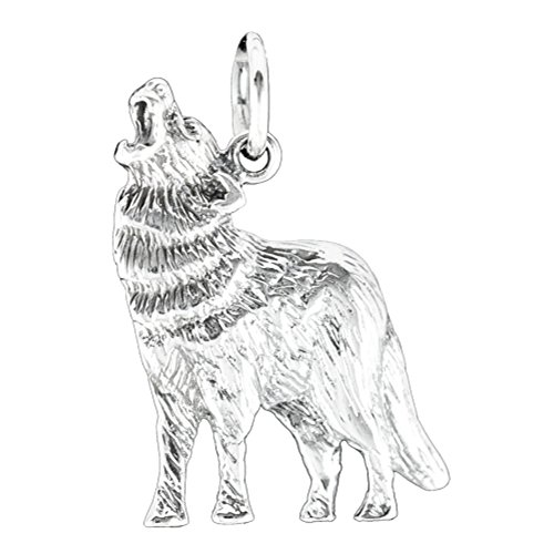 Wolf Anhänger Echt 925 Sterling Silber 25mm. Tier Kettenanhänger Indianer Silberschmuck.