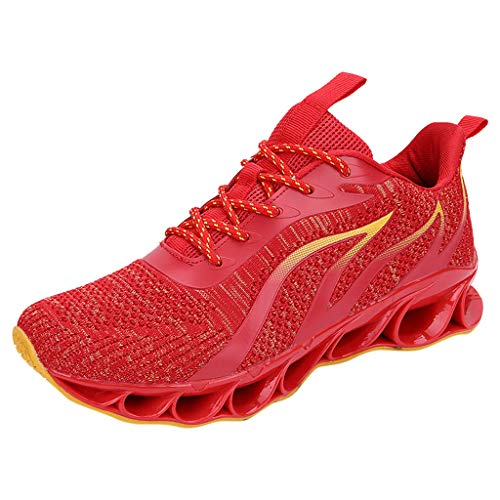 AIni Herren Schuhe,Mode 2019 Neuer Heißer Beiläufiges Mesh Sport Laufschuhe Atmungsaktive Turnschuhe Kletterschuhe Partyschuhe Freizeitschuhe(46,Rot)
