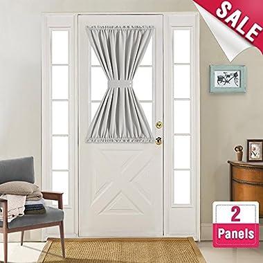 French Door Curtain Panels Room Darkening French Door Curtains Thermal Insulated Curtains for Glass Door 40 Inches Length with Bonus Tiebacks, 2 Panels, Grey