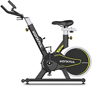YONKFUL フィットネスバイク スピンバイク 本格トレーニング 8段階負荷調節 高機能デジタルメーター 静音 心拍数測定 移動用キャスター付き ハンドル&サドル調節可能 自宅トレーニングマシン日本語取説