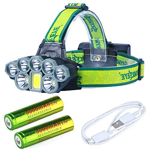 Lampe Frontale 50000 Lumens, 8 Modes, USB, 7X * XM-L T6 + Lampe Torche Frontale LED Lanterna, avec Chargeur De Batteries 18650