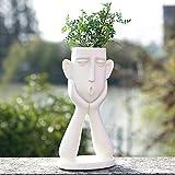 FROZZUR Human Face Shaped Flower Pot, Tall White Modern Head Planter, Irregular Garden Pot for...