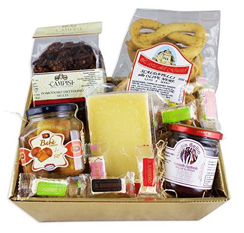 Goldener Delikatessen Geschenkkorb DOLCE&SALATO mit ausgesuchten italienischen Spezialitäten Feinkost