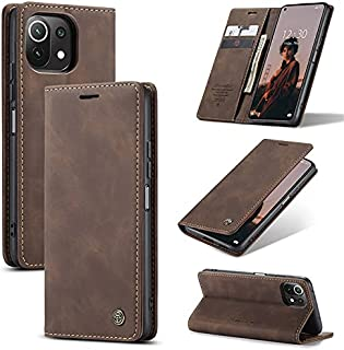 Xiaomi Mi 11 Lite (Xiaomi Mi 11 Lite) Flip Wallet Leather Case Cover with Card Holder and Card Holder - Color (Brown)