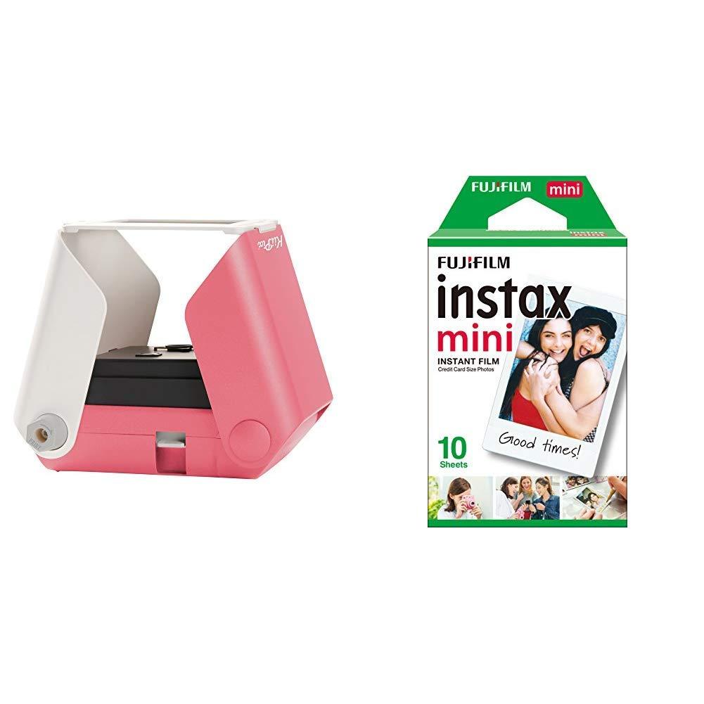 kiipix e72753 Impresora Fotográfica Color 1 PPM Rosa +Fujifilm Instax Mini Brillo - Pack de 10 películas fotográficas instantáneas (1 x 10 Hojas), Color Blanco: Amazon.es: Informática