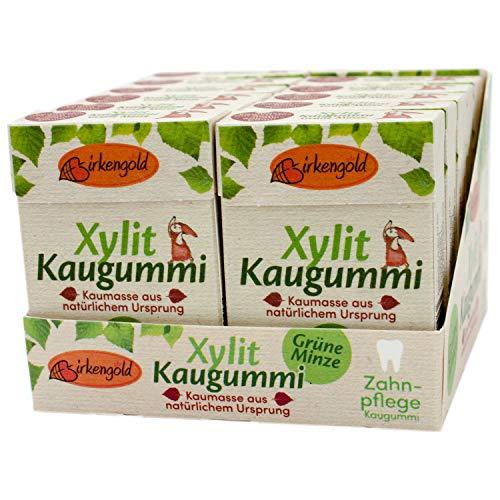 Birkengold Natur Xylit Kaugummi Grüne Minze | 12er Pack | Natürliche Kaumasse aus dem Saft des Sapotillbaums und Candelillawachs | Zahnpflegend | zuckerfrei | Min. 70 % Xylit