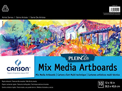 Canson Plein Air Mix Media Art Board Pad for Watercolor, Acrylic, Pens and Pencils, 12 x 16 Inch, Set of 10 Boards