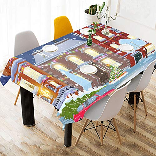 Yngxil Best Table Cloth Beautiful Christmas Cityscape Cotton Print Table Linens Cloth Cover Tablecloth for Kitchen Dining Room Decor 60x84 Inch High Top Table Cloth