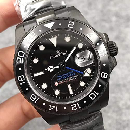 QWERTU Reloj De Zafiro De Acero Inoxidable GMT De Cerámica Limitado A Mano Azul Verde con Caja Negra Completa Mecánica Automática para Hombres Nuevos Clásicos Azul