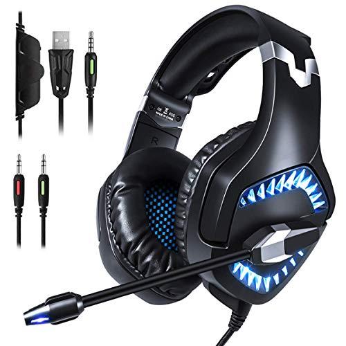 LBWNB Gaming-Headset, 3,5 m Klinkenstecker, Stereo, Over-Ear-Computer-Kopfhörer mit verstellbarem Mikrofon für Xboxone/PS4/Mac/Table/Phone/PC, schwarz/blau (Farbe: blau)