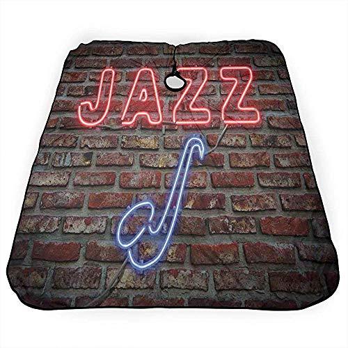Haarsnit Cape Muziek Neon Jazz Saxofoon Op Baksteen Muur Kapsel Jurk Lichtgewicht Salon Professionele Kapsel Cape Snijden Kapper Kapper Schort 140X168Cm