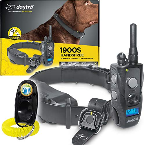 Dogtra 1900S HANDSFREE Remote Training Collar - 3/4 Mile Range, Waterproof, Rechargeable, Static, Vibration, Hands-Free Remote Controller - Includes PetsTEK Dog Training Clicker