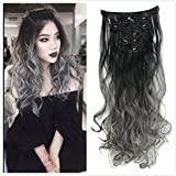 DYBST Natural Black to Dark Grey 2-tone Ombre Color Natural Wavy/Silky Straight Clip in Hair Extensions 7Pieces 24' for a Full Head … (Wavy)