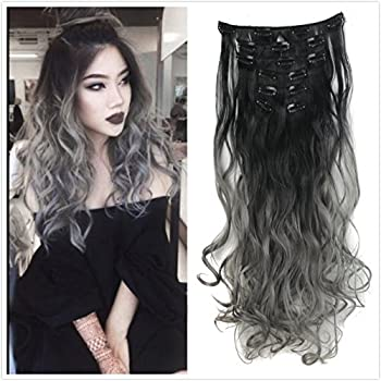 DYBST Natural Black to Dark Grey 2-tone Ombre Color Natural Wavy/Silky Straight Clip in Hair Extensions 7Pieces 24  for a Full Head …  Wavy
