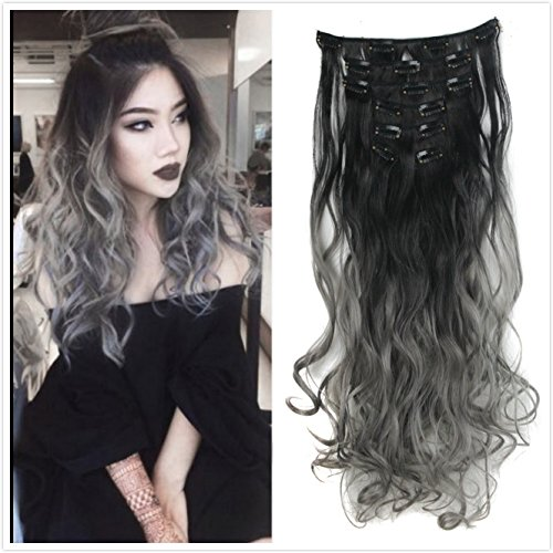 DYBST Natural Black to Dark Grey 2-tone Ombre Color Natural Wavy/Silky Straight Clip in Hair Extensions 7Pieces 24