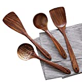 Wooden Cooking Utensils Kitchen Utensil,NAYAHOSE Natural Teak Wood Kitchen Utensils Set - Nonstick...
