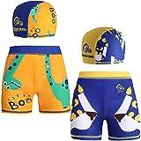 2 Pack of Boys Cute Sun Protection Beach Boardshorts Swim Pants Beachwear with Caps 5-6 Years