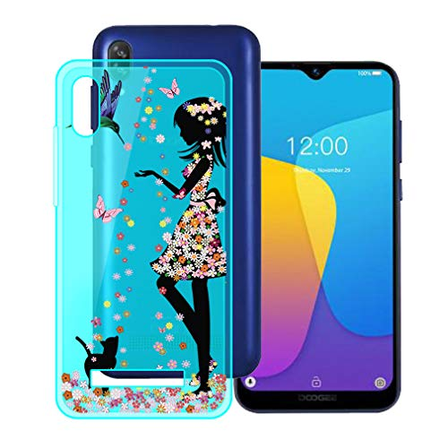 HHUAN Schutzhülle für Doogee X90, Blau, transparent, weiches Silikon-Gel, stoßfest, cool, 15,7 cm (6,10 Zoll)