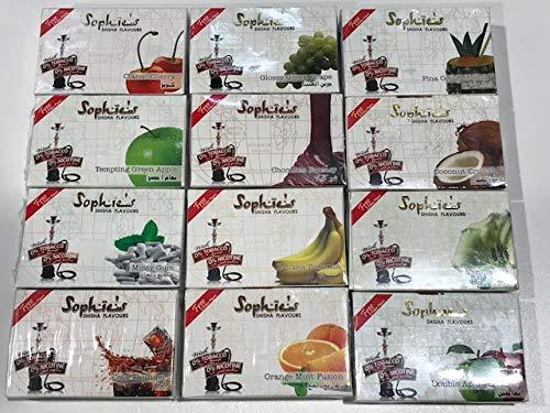 Pack 12 paquetes Shisha sin nicotina marca Sophie´s 50GR por paquete, total 600GR