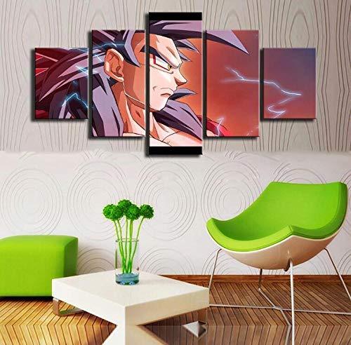 QZWXEC Dragon Ball Animation Goku Saiyan Anime/Decoración de Pared 5 Piezas Cuadro En Lienzo Dormitorio Sala DecoracióN del Hogar Arte De Cartel Pared Lienzo Pintura - En Marco - Tamaño(150x80cm)