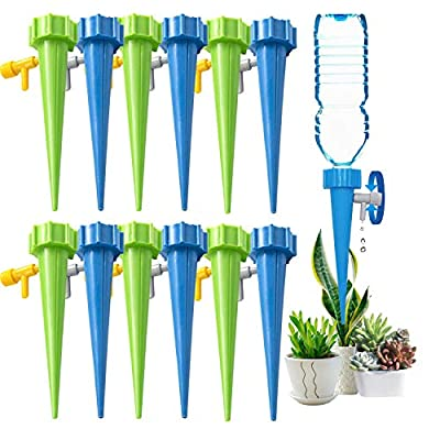 Self Watering Spikes?Slow Release Control Valve Switch Automatic Irrigation Watering Drip System?Adjustable Water Volume Drip System for Outdoor and Vacation Plant Watering-12Pack?6 green&6 blue? by QQCherry