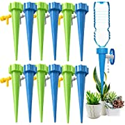 Self Watering Spikes, Slow Release Control Valve Switch Automatic Irrigation Watering Drip System, Adjustable Water Volume Drip System for Vacation and Outdoor Plant Watering-12Pack(6 green&6 blue)