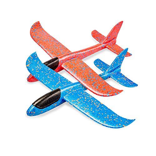 Flanacom Premium Styroporflieger XXL 43 cm - 2er Set - Robustes Flugzeug zum Werfen - Glider - Segelflugzeug - Modellflugzeug - Flieger zum Spielen - Spielzeug für Kinder