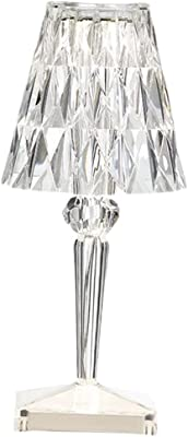 Baoblaze Touch Control Lampe de Table en Cristal avec USB Port de Charge, Chambre de Chevet Art Décoratif Acrylique Chevet pour Hôtel, Maison, Bureau,