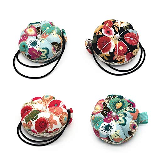 4PCS Wrist Strap Sewing Pin Cushions Needle Pincushions Pin Cushion Needle Pin Cushion Holder Sewing Accessories with Clip Shaped for Needle Storage Needlework Sewing Embroidery DIY Sewing Craft