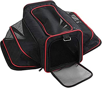 Pet Travel Carrier Foldable Pet Travel Bag with 2 Expandable Mesh Windows Designed for Cats Small Dogs Kittens Puppies - Soft Sided Portable Cat Dog Puppy Carrier Airplane Approved