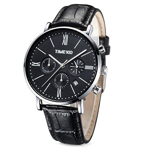 Time100 Orologio da Uomo Sportivo e Multifonzionale con Tre Quadranti Movimento al Quarzo Cinturino in Pelle (Nero)