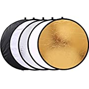 "Reflector Panel 12"" / 30cm 5-in-1 Collapsible Multi-Disc Light Reflector with Bag - Translucent, Gold, Silver, Black and White"