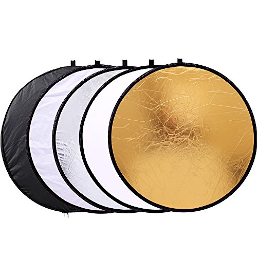 43quot/110cm 5in1 Light Reflector for Photography Collapsible MultiDisc Round with Bag  Translucent Gold Silver Black and White
