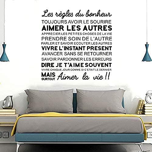 Arte pegatinas de pared y murales cita felicidad reglas cartel moda pintura 57x57cm